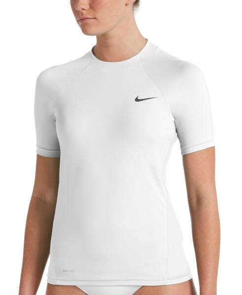Nike Swim Women's Essential Short Sleeve Hydroguard Rash Guard White