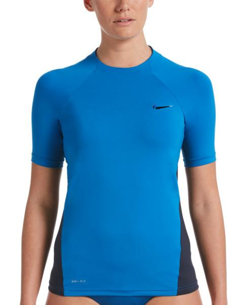 Nike Swim Women's Essential Short Sleeve Hydroguard Rash Guard Battle Blue