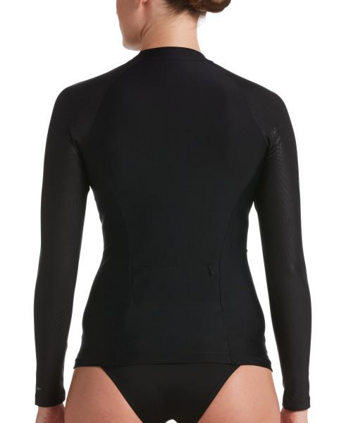 Nike Swim Women's Trigeo Long Sleeve Zip Hydroguard Rash Guard Black