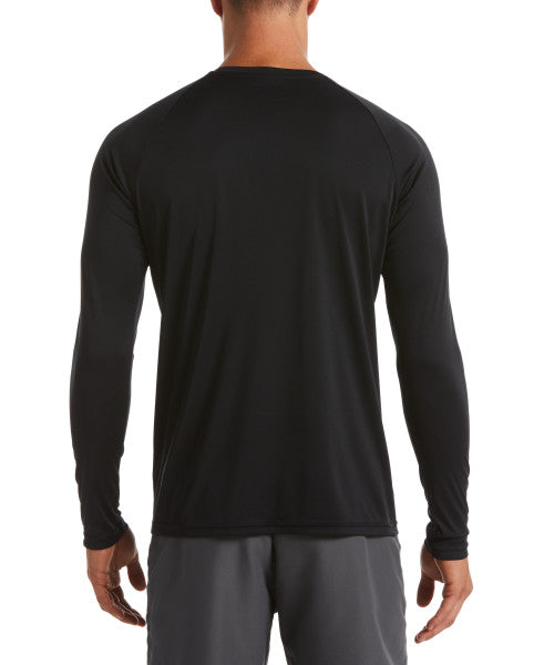 Nike Swim Men's Essential Long Sleeve Hydro Rash Guard Black