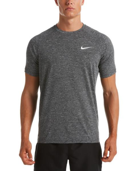 Nike Swim Men's Heather Short Sleeve Hydroguard Rash Guard Black