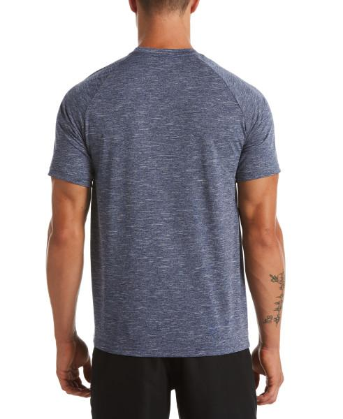 Nike Swim Men's Heather Short Sleeve Hydroguard Rash Guard Midnight Navy
