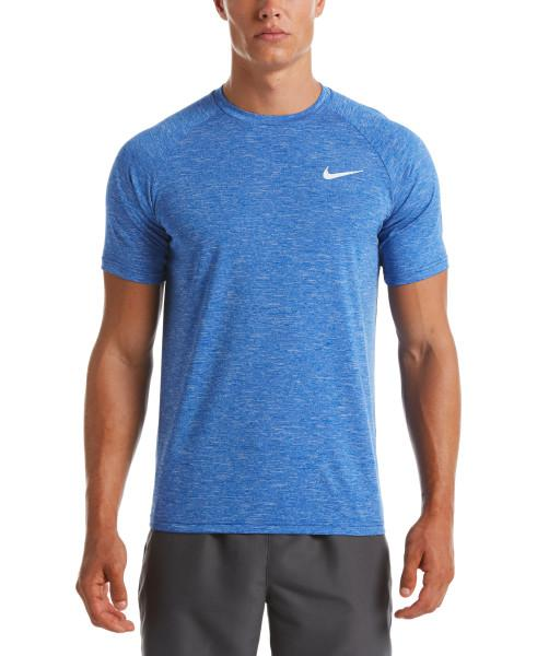 Nike Swim Men's Heather Short Sleeve Hydroguard Rash Guard Game Royal