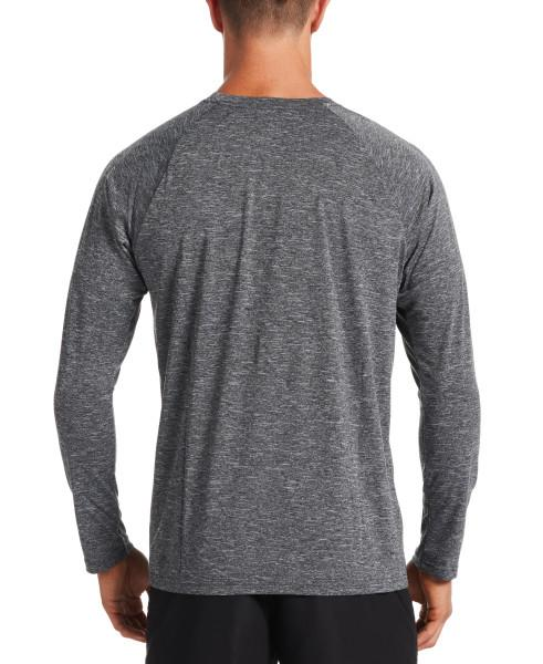 Nike Swim Men's Heather Long Sleeve Hydroguard Rash Guard Black
