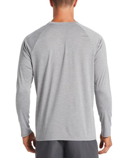 Nike Swim Men's Heather Long Sleeve Hydroguard Rash Guard Particle Grey