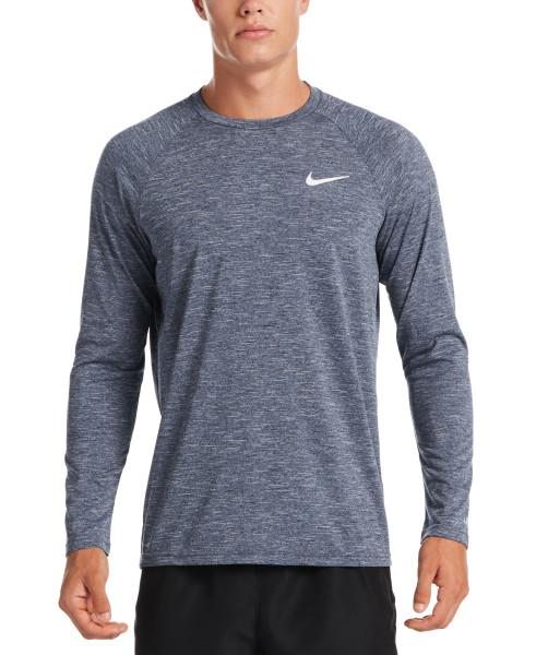 Nike Swim Men's Heather Long Sleeve Hydroguard Rash Guard Midnight Navy