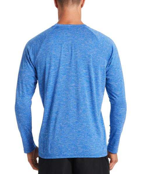 Nike Swim Men's Heather Long Sleeve Hydroguard Rash Guard Game Royal