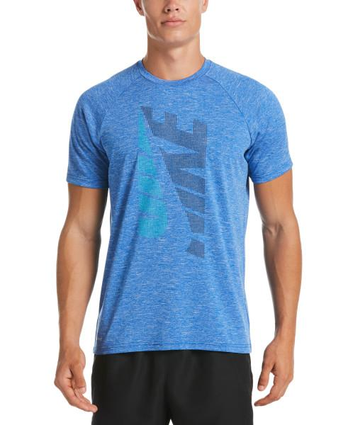 Nike Swim Men's Heather Tilt Short Sleeve Hydroguard Rash Guard Game Royal