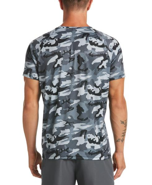 Nike Swim Men's Camo Short Sleeve Hydroguard Rash Guard Black