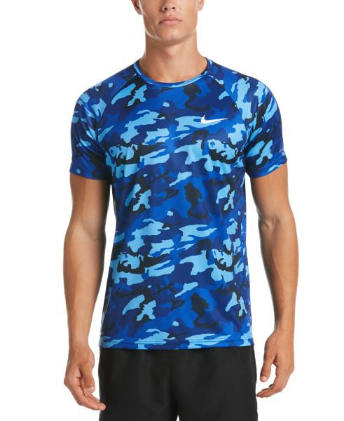 Nike Swim Men's Camo Short Sleeve Hydroguard Rash Guard Obsidian