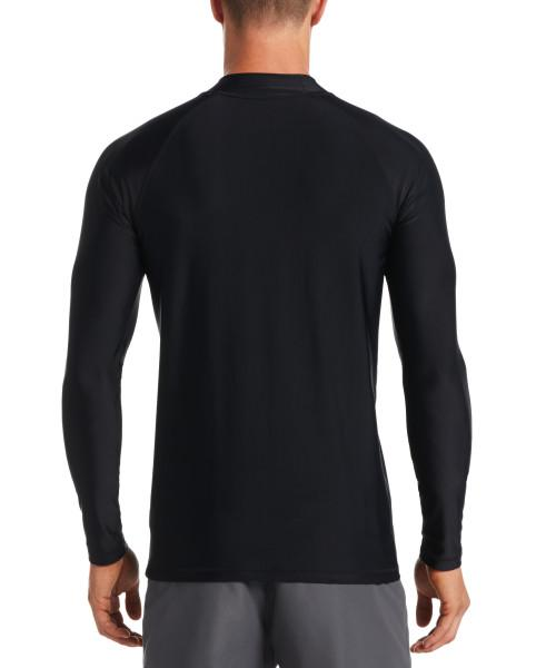 Nike Swim Men's Solid Long Sleeve Hydroguard Rash Guard Black