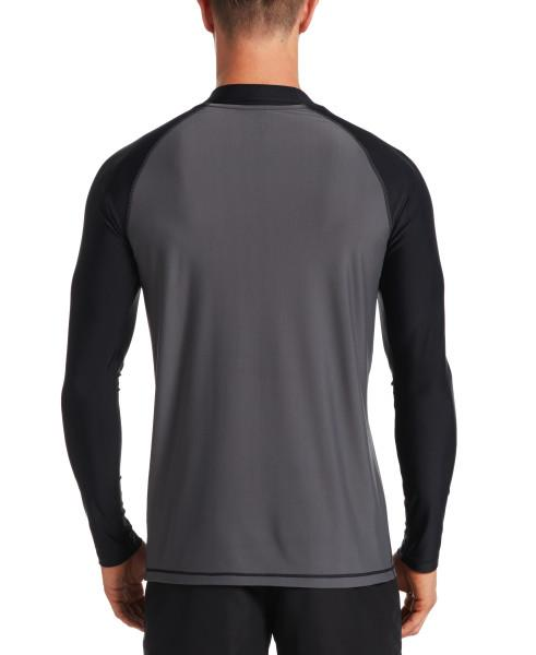 Nike Swim Men's Solid Long Sleeve Hydroguard Rash Guard Iron Grey