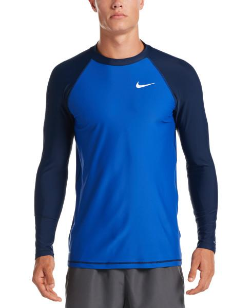 Nike Swim Men's Solid Long Sleeve Hydroguard Rash Guard Game Royal