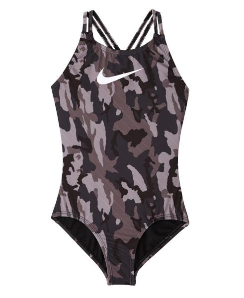Nike Swim Girls' Camo Spiderback One Piece Black
