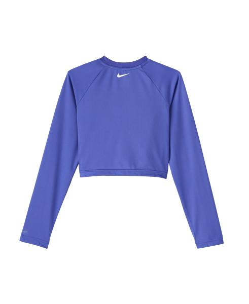 Nike Swim Girls' Jdi Long Sleeve Crop Hydroguard Rash Guard Sapphire