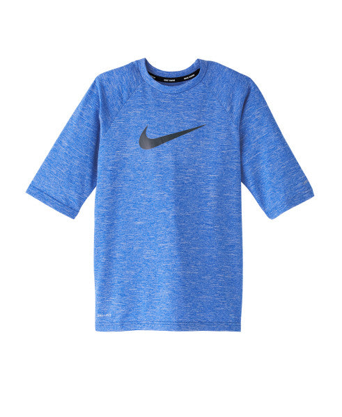 Nike Swim Boys' Heather Half Sleeve Hydro Rash Guard Game Royal