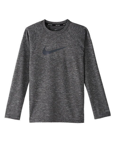 Nike Swim Boys' Heather Long Sleeve Hydro Rash Guard Black