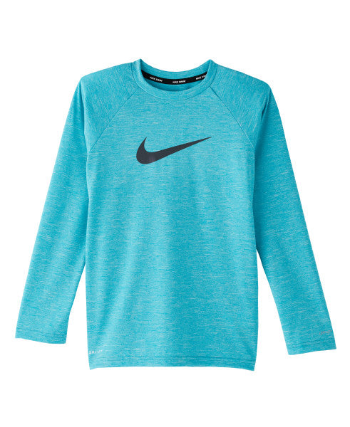 Nike Swim Boys' Heather Long Sleeve Hydro Rash Guard Oracle Aqua