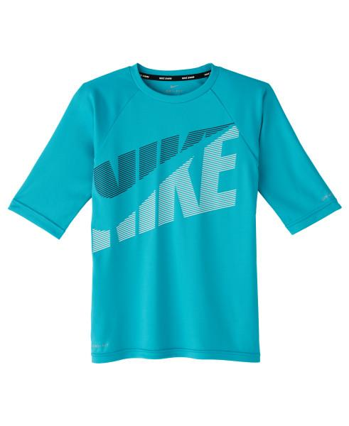 Nike Swim Boys' Tilt Half Sleeve Hydroguard Rash Guard Oracle Aqua