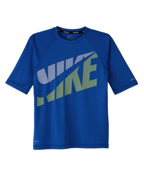 Nike Swim Boys' Tilt Half Sleeve Hydroguard Rash Guard Game Royal