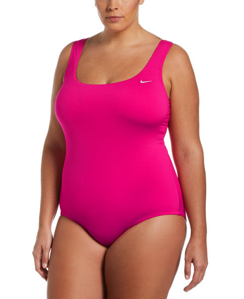 Nike Swim Women's Plus Size Essential U-Back One Piece Fireberry