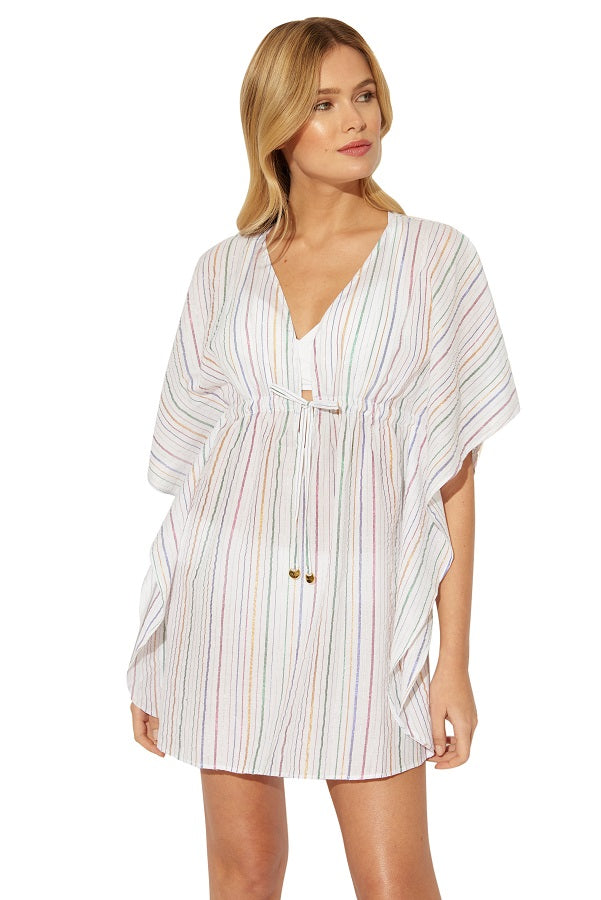 Bleu Rod Beattie White Passage to India Caftan Metallic Cover Up