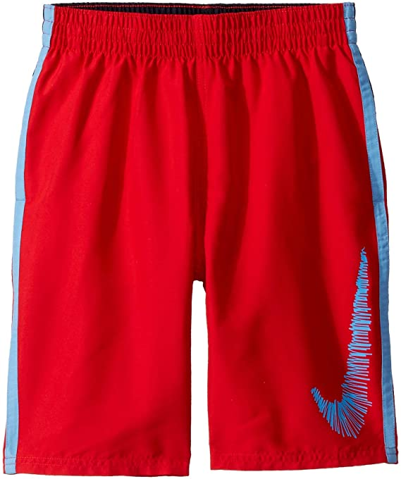 "Nike Swim Boys' Color Block Diverge 8"" Volley Shorts University Red"