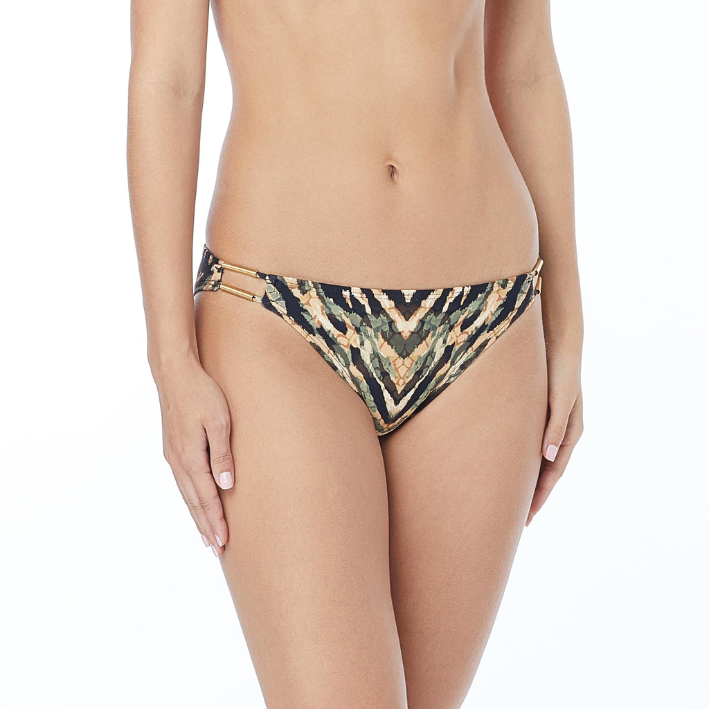 Carmen Marc Valvo Reflections Palm Green Camo Strappy Bikini Bottom