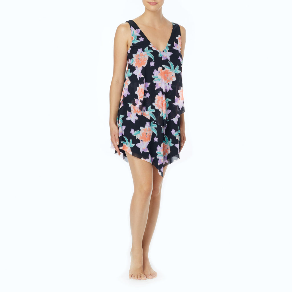 Beach House Bungalow Bay Flower Tori Ruffled Dress Cover Up Black