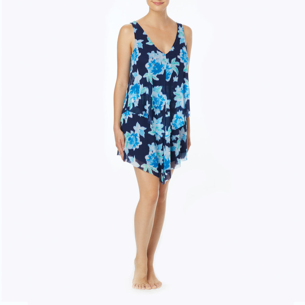 Beach House Bungalow Bay Flower Tori Ruffled Dress Cover Up Admiral