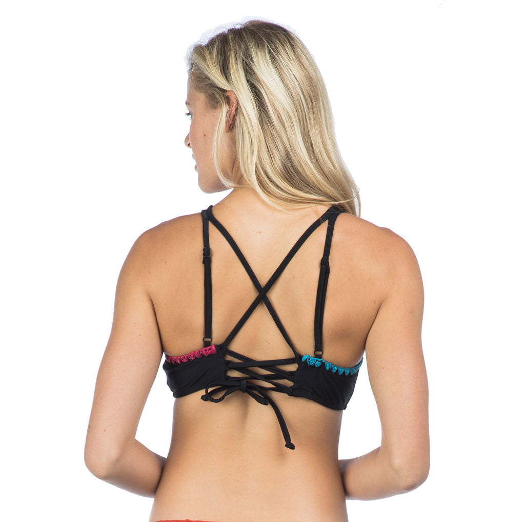 Hobie Women's Keep The Piece High Neck Strappy Bikini Top