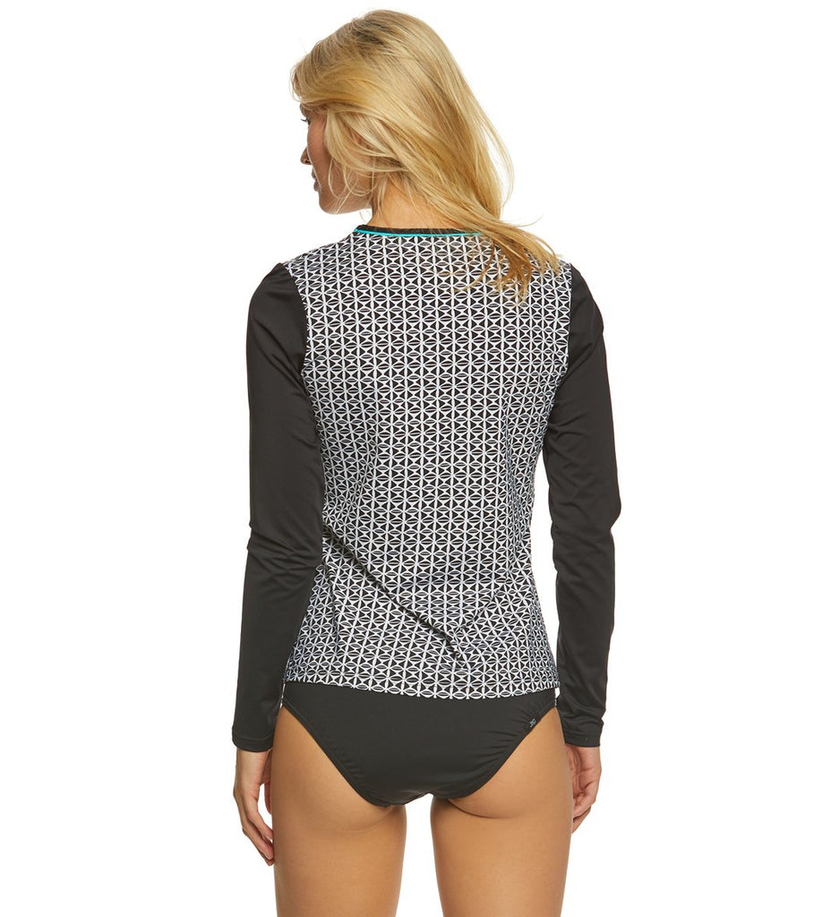 Jag Swim Tiki Geo Black Swim Shirt Rash Guard