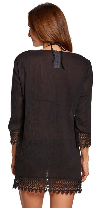 Jantzen Crochet Trim Tunic Cover Up Black