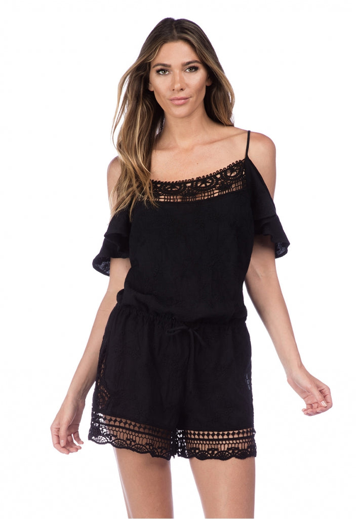 La Blanca Zen Garden Romper Cover Up Black