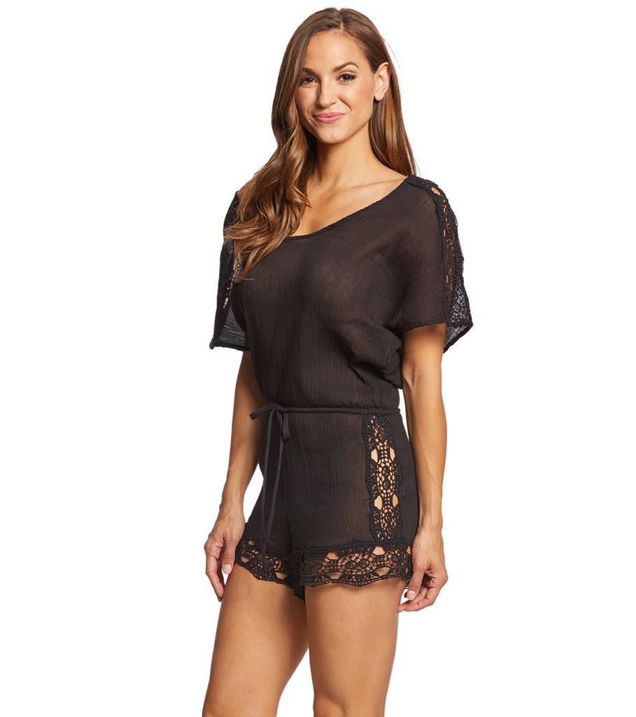 La Blanca Island Fare Scoop Neck Romper Cover Up Black