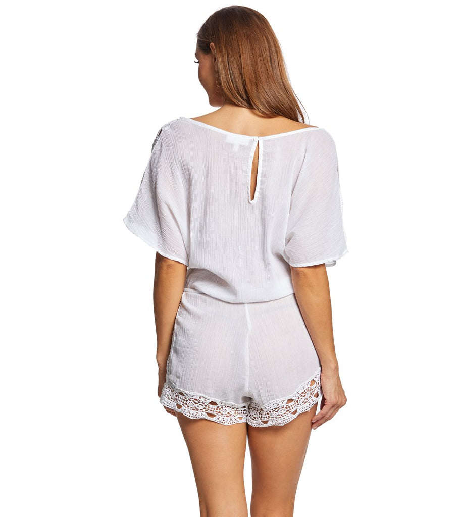 La Blanca Island Fare Scoop Neck Romper Cover Up White