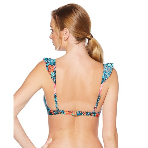 Laundry by Shelli Segal Deep Teal Floral Paisley Ruffle Bikini Top