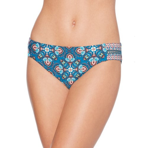 Laundry by Shelli Segal Deep Teal Paisley Butterfly Twin Lattice Tab Side Hipster Bikini Bottom