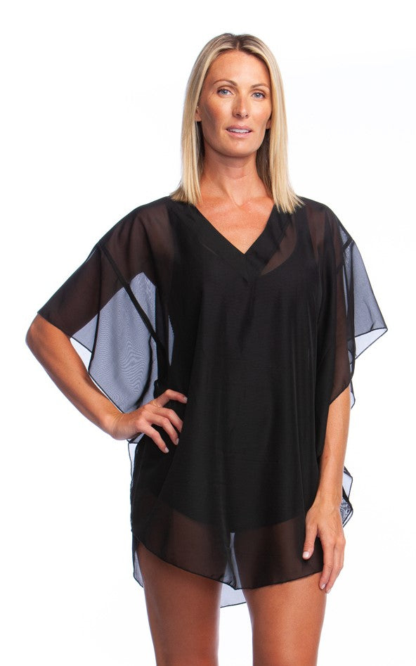 Maxine of Hollywood Women's Solid Chiffon Caftan Cover Up Black