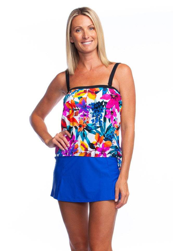 Maxine of Hollywood Key West Bandeau Blouson Tankini Top