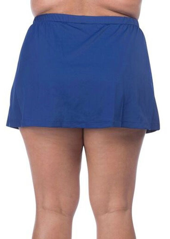 Maxine of Hollywood Women's Plus Size Solid Skirted Pant Navy Blue