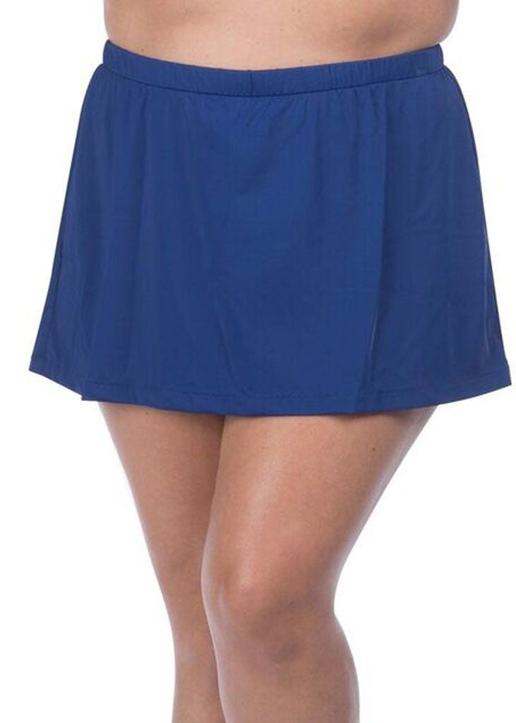 Maxine of Hollywood Plus Size Solid Skirted Pants Navy Blue