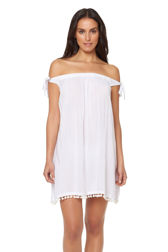 Bleu Rod Beattie Gypset Off the Shoulders Tunic Dresss Cover Up White