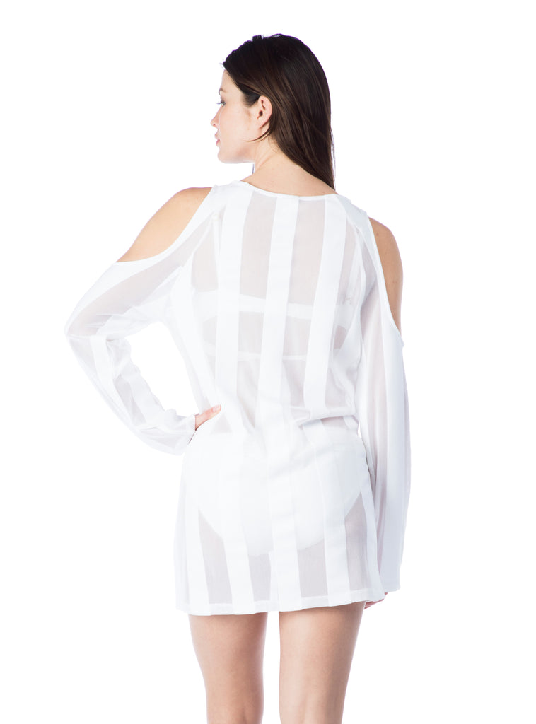 Kenneth Cole Women's Reaction Cold Shoulder Dress Cover Up White