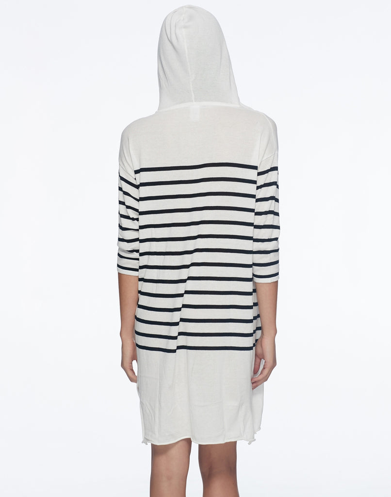 Skye Zahra Cotton Striped Hooded Cover Up