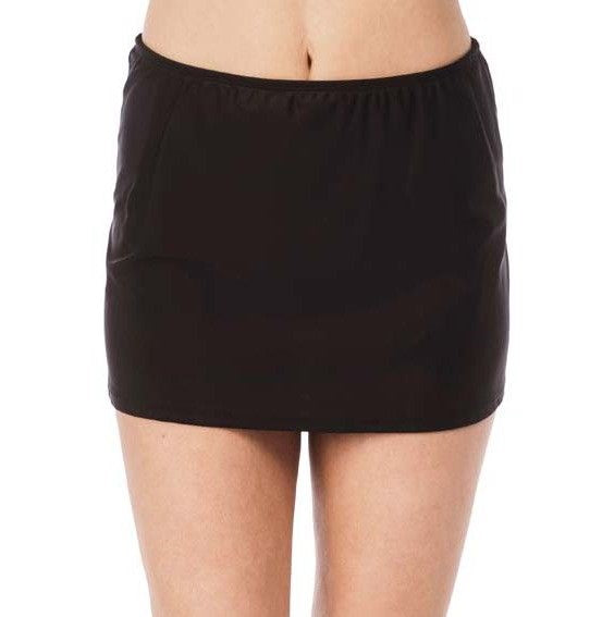 24th and Ocean Black Solid Skirted Swim Skirt