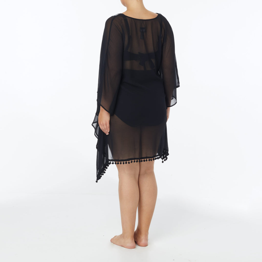 Coco Reef Plus Size Classic Solids Cast Black Cabana Caftan Cover Up