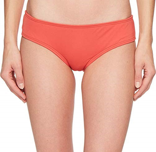 Vince Camuto Solid Shirred Smooth Fit Cheeky Bikini Bottom Papaya