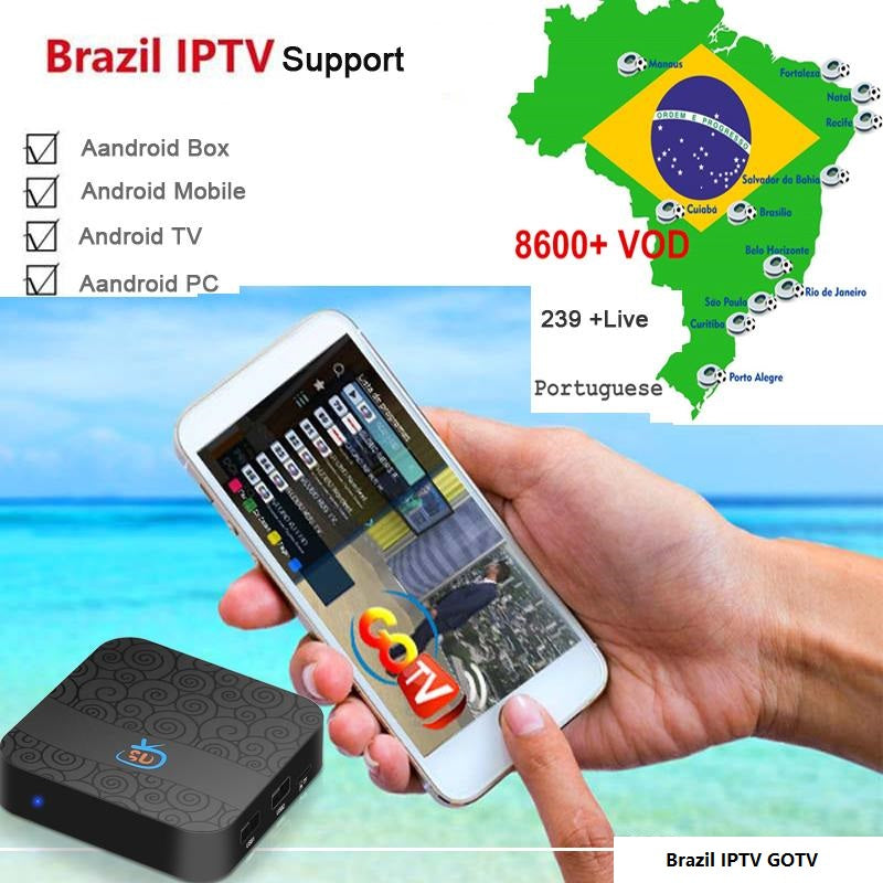 Brazil IPTV Subscription with 239 LIVE 8000 VOD, Brazilian Internet IPTV  Streaming code