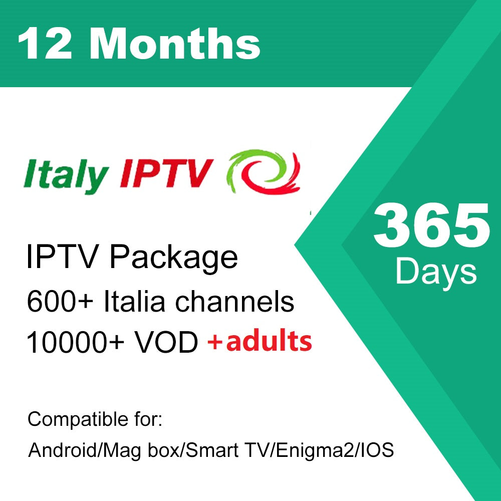 12 Months Italia IPTV subscription for local Italy TV and adult channels